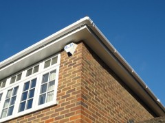 White plain soffits with white square guttering