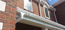 white ogee guttering white fascias soffits