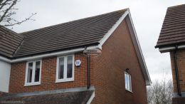 Gable fascias soffits guttering halfround black downpipe roofing rooftrim