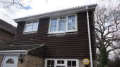 New installation fascia guttering white tongue groove soffits squareline downpipe gutter Basingstoke