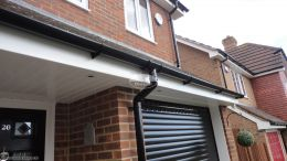fascias soffits guttering halfround black downpipe roofing rooftrim white led spot lights