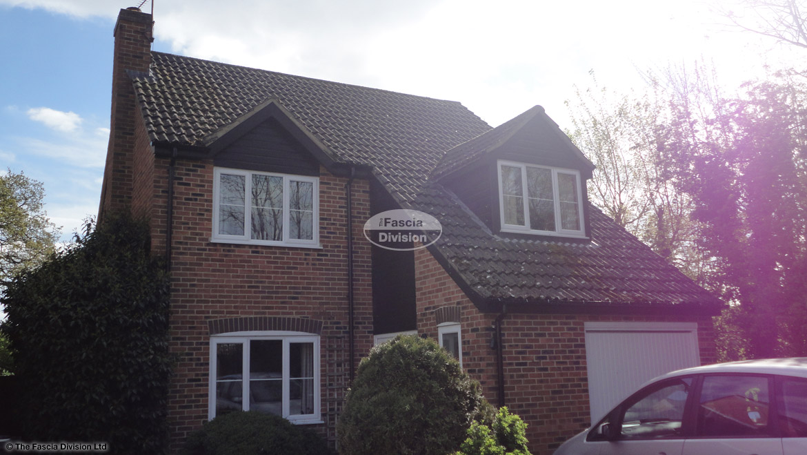Black ash fascia and soffit with black ash shiplap cladding and black half-round guttering Newbury