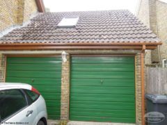 UPVC oak fascia and soffit with square UPVC guttering on the garage
