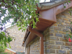 UPVC oak fascia and soffit with square guttering