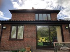 New rosewood UPVC soffits and fascias with round UPVC guttering
