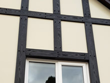 Black tudor boards with ivory render board replacement
